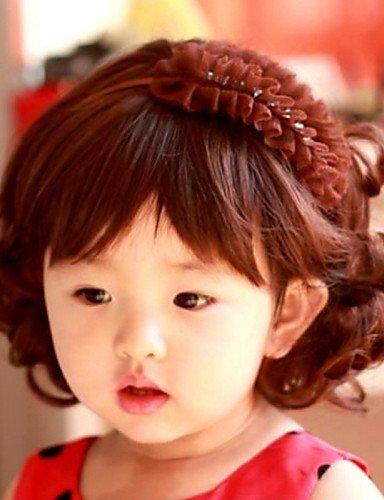 xzl Pelucas de la manera niños encantadores estudio peluca rizada dedica especial para bebés de 1-4 años de edad,brown
