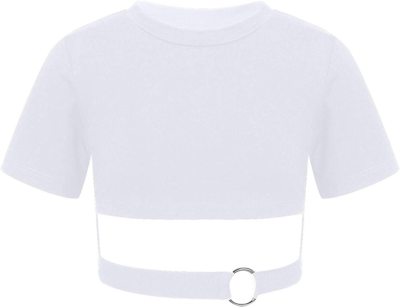 Aiihoo Kids Girls O-Ring Connected Keyhole Waist Short Sleeves T-Shirt Sports Hip Hop Jazz Belly Cha Cha Dancing Tees