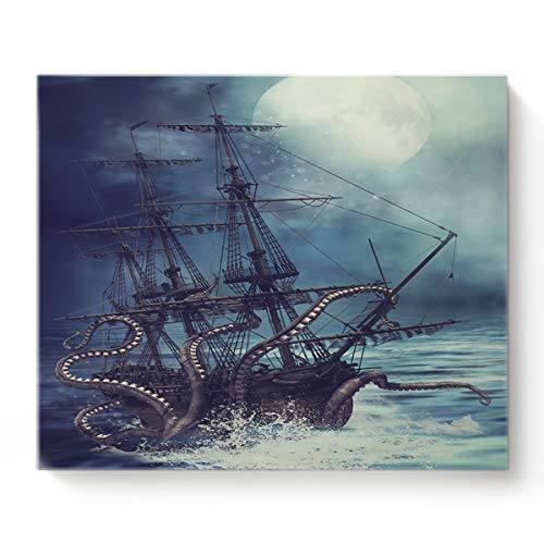 Canvas Print Wall Art Kraken Octopus Monster Pirate Ship Wall Decor Paintings Pictures for Living Room Modern Artwork Stretched and Framed Ready to Hang 16' x 20'