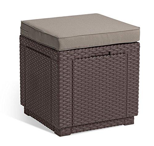Koll-Living Sitzhocker Cubic XL in braun, inkl. Sitzkissen, 42x42x39 cm, Kunststoff in Rattanoptik, Innenraum vom Hocker kann als Stauraum genutzt Werden
