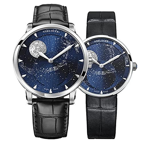 Agelocer Hombres Top Marca Azul Luna Fase Mecánica Masculina Moda de Lujo Analógico Reloj Elegante Señoras Navidad San Valentín (NK_6404A1-6504A1)