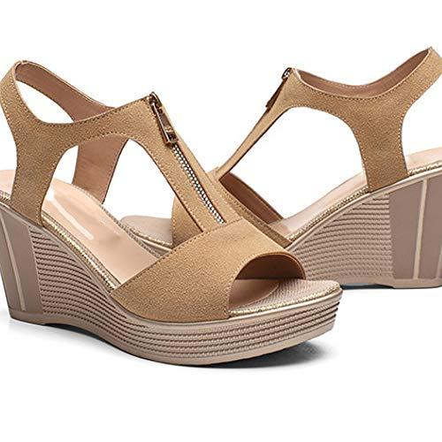 Sandales à Talons compensés en Daim à Talons Aiguilles pour Femmes