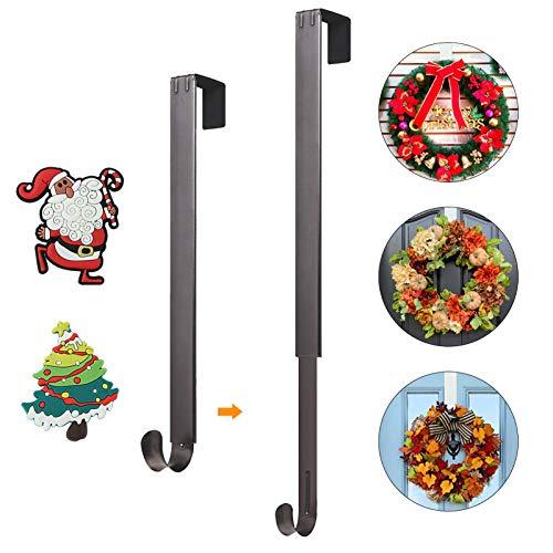 Wreath Hanger for Front Door, HangerSpace Over Door Wreath Hook Wreath Holder Adjustable Length 15 inch - 24 inch with 2 Magnets Christmas Decoration - Nickel