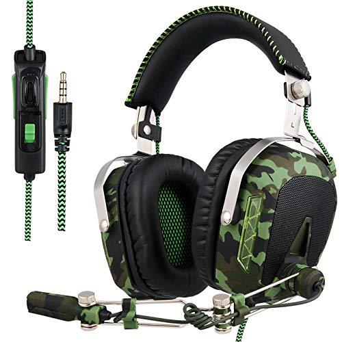 ZKKZ Stéréo/Casque de Jeu Casque avec Microphone pour PS4 / Xbox One/PC/Mac/Smart Phone (Vert Militaire)