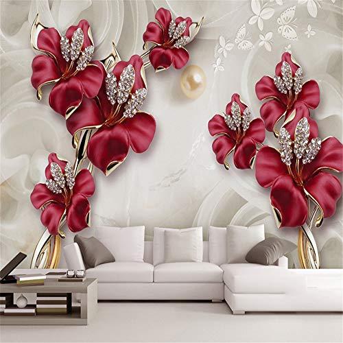 Zhcm Tapete 3D Tapete 3D Relief Tapete Tapete Schöne Stereo Schmuck Blume TV Wand Wohnzimmer Schlafzimmer Vliesstoff Wasserdichte Tapete, 400 * 280cm