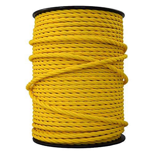 smartect Lampenkabel aus Textil in der Farbe Gelb - 10 Meter Textilkabel - 3-Adrig (3 x 0.75mm²) - Textilummanteltes Stromkabel für DIY Projekt
