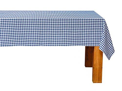 FILU Tischdecke 140 x 140 cm Blau/Weiß kariert (Farbe und Größe wählbar) - hochwertig gefertigtes Tischtuch aus 100% Baumwolle