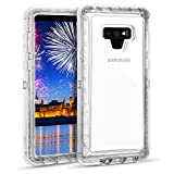 Wollony for Galaxy Note 9 Clear Case Heavy Duty Transparent Case for Women Girls 3 in 1 Hybrid Shockproof Hard Bumper Soft Clear Rubber Protective Cover for Samsung Galaxy Note 9 Clear