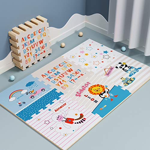 WYYUE Kids Animals Playmat - 9 Tapetes de Piso de Enclavamiento Suaves con patrón, para la Estera del Baldosa del Piso del Bebé, 2 cm de Espesor,A 6pcs,56x56cm