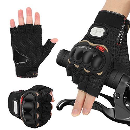 Handschuhe Herren Fingerlose Halbfinger Fahrradhandschuhe Hard Knuckle Laufhandschuhe Fit für Radfahren Airsoft Paintball Wandern Motorrad Camping Fitness Sport Outdoor (Schwarz, XL)