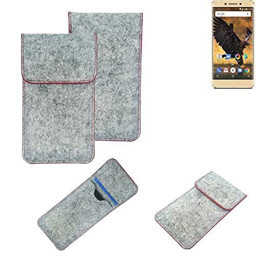 K-S-Trade® Handy Schutz Hülle Für Allview P8 Pro Schutzhülle Handyhülle Filztasche Pouch Tasche Hülle Sleeve Filzhülle Hellgrau Roter Rand
