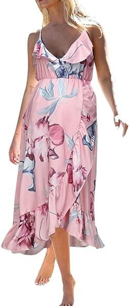 LIM Shop 女装孕妇夏季连衣裙孕妇上衣无袖背心裙意大利细带褶边衬衫沙滩印花背心