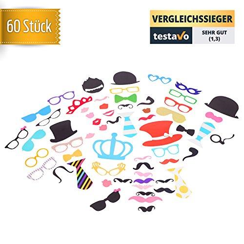 stylished® | 60 Stück extra lustige Fotorequisiten | bunte Fotoaccessoires für tolle Bilder mit Hüten, Krawatten, Brillen, Kronen und viele mehr - Perfekt für Hochzeit, Geburtstag, Party, Feiern