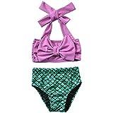 2Pcs Baby Girls Halter Bowknot Tube Top+Floral Short Bottoms Bikini Bathing Suit Swimwear (Mermaid, 12-18Months)
