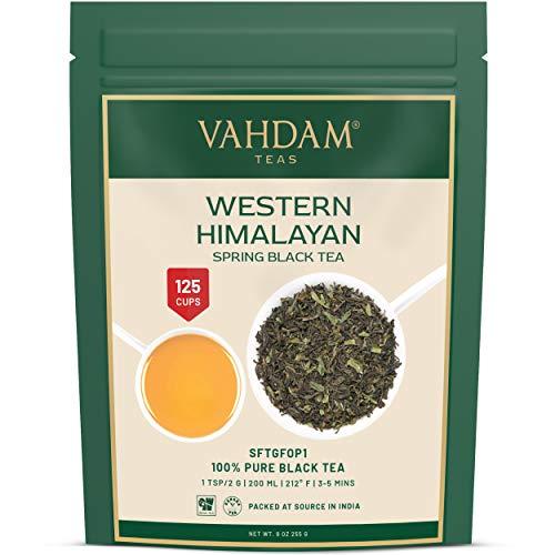 VAHDAM, Western Himalayan Kangra Spring Schwarzer Tee - 120 Tassen, 255gr - 100% reiner ungemischter schwarzer Tee lose Blätter direkt aus Dharamsala Mann Tea Estate