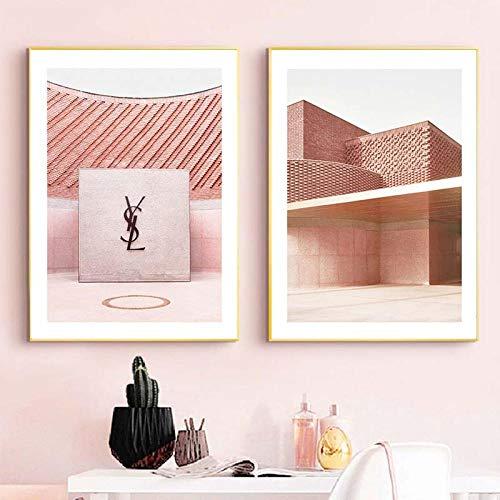 VVSUN Póster de Arte de Pared de Arquitectura de Moda Rosa,línea geométrica Abstracta,Lienzo,Pintura de Estilo escandinavo,habitación de niña,decoración del hogar,50X70cm 20x28inchx2 Sin Marco