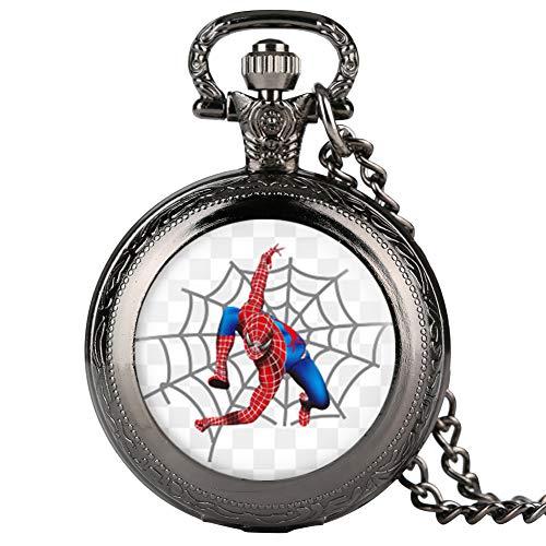 Reloj de bolsillo para hombre, vintage Spider-Man con patrón de impresión de...