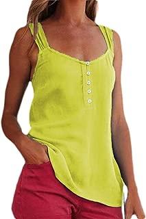 FSSE Womens Buttons Trim T-Shirt Solid Color Sleeveless Plus Size T-Shirt Blouse Tank Top
