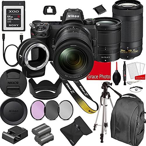 Nikon Z7 Mirrorless Digital Camera 45.7MP W/Nikkor Z 24-70mm f/4 S & AF-P 70-300mm F/4.5-6.3 ED VR Lenses + 64GB G Series XQD Memory Card +Accessory Bundle (22 Pieces)