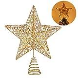 NUOBESTY Topper de árbol de Navidad Luces de Colores con Recubrimiento de Polvo de Bling luz de exhibición de Estrella de Copa de árbol - 25 x 30 cm luz cálida Dorada sin baterías