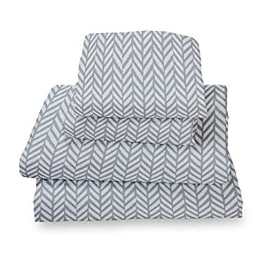 Where The Polka Dots Roam King Sheet Set Blue Gray Herringbone - Double Brushed Ultra Microfiber Luxury Bedding Set