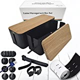 Cable Management Box Organizer Set, Pack of 2 with Configuration Kit, Updated Anti-Skid Design, Large and Medium Black Boxes with Faux Wood Design Lid, Covers and Hides Cords/Wires/Power Strip