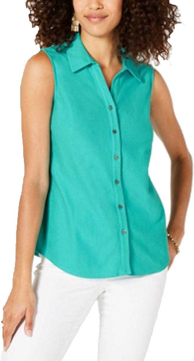 Charter Club Womens Collar Sleeveless Button-Down Top