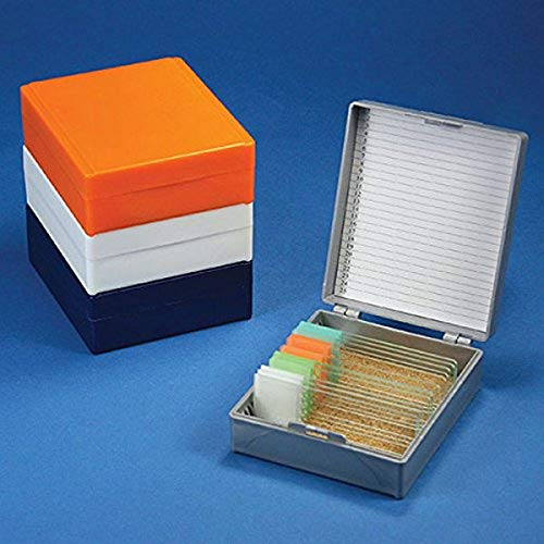 Globe Scientific 513075W ABS Plastic Cork Lined Slide Storage Box for 25 Slides, White