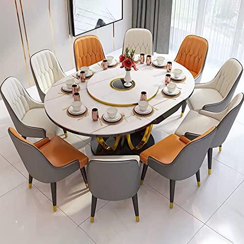 Mesa De Comedor Plegable Retráctil Multifunción Con Cocina De Inducción, Mesa De Comedor Ampliable, Mesa Redonda Cuadrada Multifuncional Mesa De Comedor Plegable Simple Moderna,1 table+10 chairs