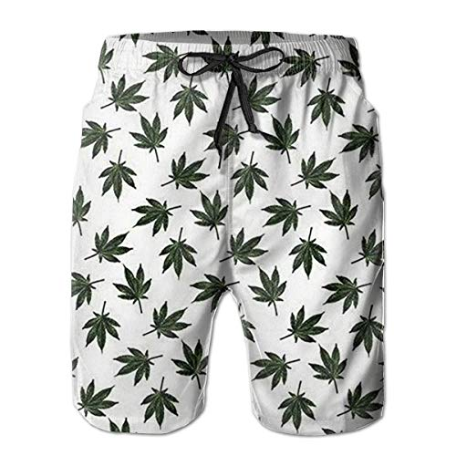DLing Herren Badehose Weed Pattern Quick Dry Beach Board Shorts,XXL