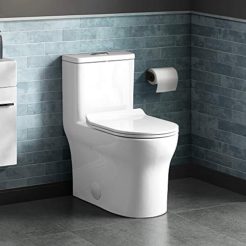 Swiss Madison Well Made Forever SM-1T111 Burdon One Piece Square Toilet Dual Flush 0.8/1.28 gpf, Glossy White