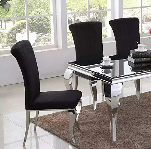 Sedia di design, stile barocco, in acciaio inox, colore nero, con imbottitura