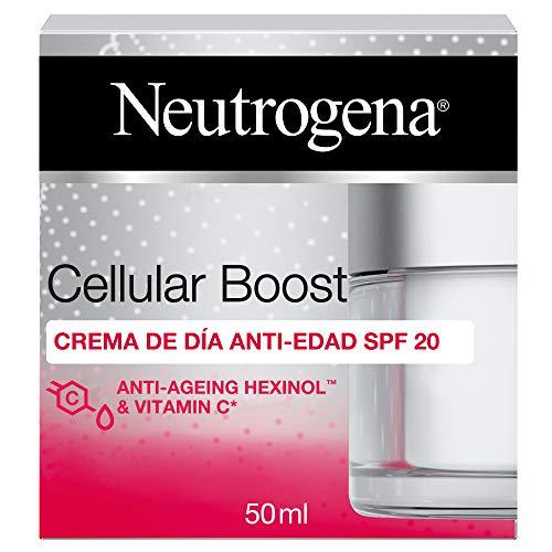 Neutrogena Cellular Boost Anti-Edad, Crema de Día SPF 20 con Vitamina C, para la Cara y El Cuello 1 Unidad 50 ml