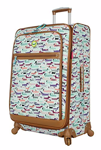 Lily Bloom Luggage Large Expandable Design Pattern Suitcase With Spinner Wheels For Woman (Totally Paw Some, 28in)