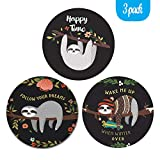 Knocent Mouse Pad, Cute Gaming Mouse Pads with Design, Non-Slip Rubber Base Mousepad with Stitched Edge, Waterproof Office Mouse Pad, Size 7.9 x 7.9 x 0.1 Inch (3Pack Sloth)