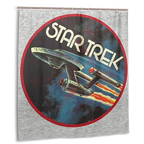 Classic Star Trek Enterprise Vintage Shower Curtain Wear-Resistant Durable Quick-Drying High Temperature Resistance Thicken Windproof 66 X 72 Inch