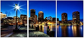 DigiArt Decor Boston Skyline/Financial District at Night Ready to Hang 3 Panel Set Wall Art Print Mounted on Fiberboard Waterproof Vinyl Canvas/Better Than Stretched Canvas/Size: 8X12X0.4¡±X3Panels