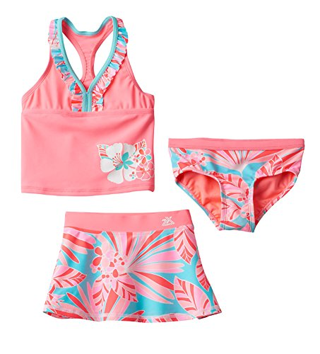 ZeroXposur Little Girls Fantasia 3-pc Tankini Swimsuit Skirt Set, Starfish (5/6)