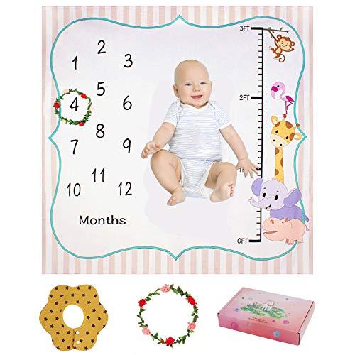 Manta de Hito Bebé, ANSUG 120 x 120 cm Franela Manta Mensual De Hito Para Bebé Fondo de Fotografía con Babero y Guirnalda para Recién Nacido Niños Niñas Baby Shower