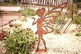 Kleines Fabelwesen Fee Lili- 36cm aus Edelrost - Wunderschöne Garten-Figur als Garten Deko, auf dem Balkon, als Dekoration Ihrer Terrasse oder in der Wohnung - Dekofigur von Manufakt-Design