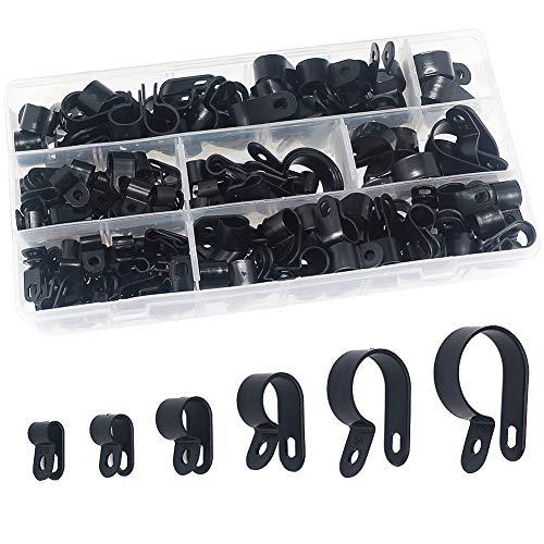 Clip in plastica nylon da 200 pezzi - Elementi di fissaggio per conduit, cavi, tubi e manicotti Ø 5/6/9/12/19 / 25mm