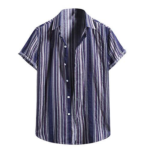 Camisa de manga corta para hombre, casual, con botones, ropa de trabajo, hawaiana, verano, algodón, lino, cuello abierto, estampado de rayas, transpirable, suelto, para el trabajo, pesca, golf, playa