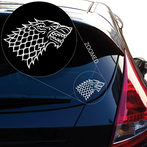 Starks Banner from The Game of Throne Decal Sticker for Car Window, Laptop, Motorcycle, Walls, Mirror and More. # 522 (10  x 13 , White)