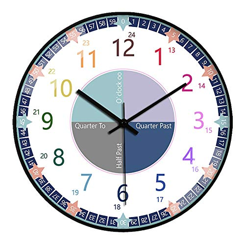 HITECHLIFE Dice El Tiempo Reloj De Los Niños 30 Cm (12 Pulgadas) Fácil De Aprender Tiempo Reloj Maestro para Niños Mecanismo De Cuarzo Negro