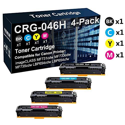 Confezione da 4 cartucce toner compatibili ad alta resa 046H CRG-046H per stampante Canon Color imageCLASS MF731cdw MF735cdw LBP654cfw (Texts-Clear)