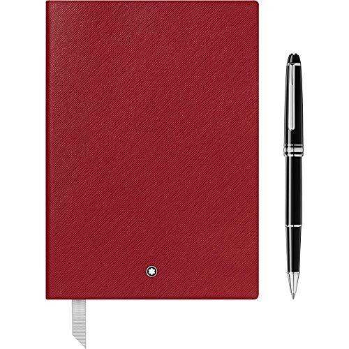 Montblanc Meisterstück Platinum Classique 118910 - Bolígrafo roller y cuaderno rojo...