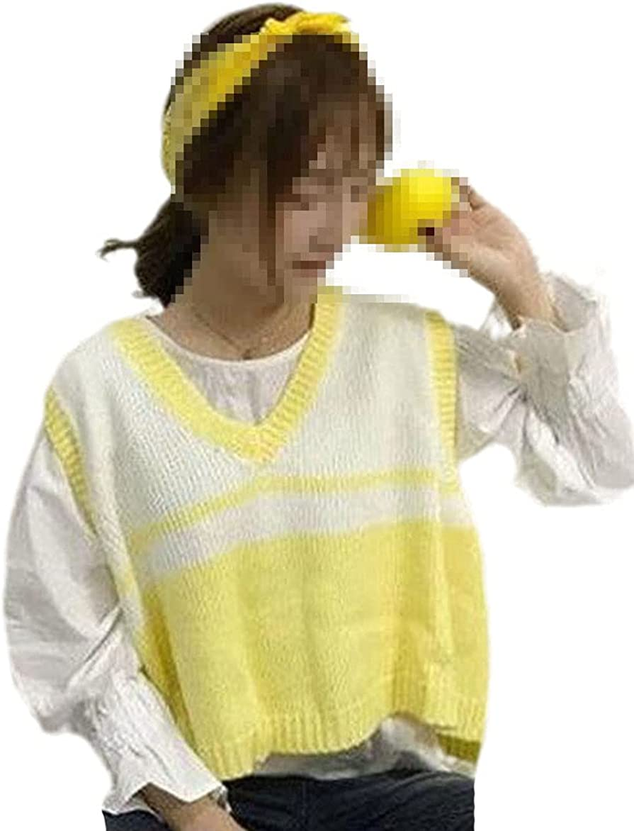 Women Sweater Vest Knitted Vest Women's Korean-Style Sweet Fashion Sleeveless Sweater Sweater Coat Spring