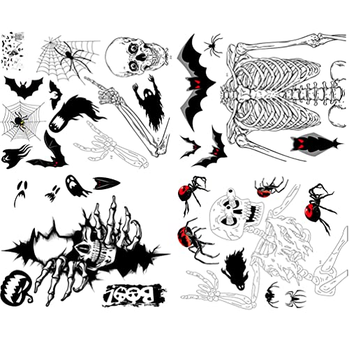 KESYOO Pegatinas de Halloween Pegatinas de Ventana de Murciélagos Negros Arañas Telarañas Esqueleto Fantasma Pegatinas Pegatinas de Vidrio Decoraciones de Fiesta de Halloween