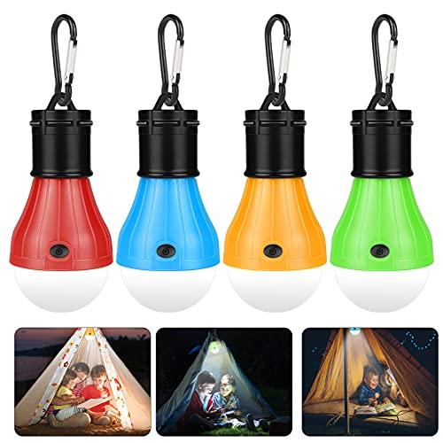 Sylanda Camping Lampe, 4 LED Camping Laterne, Camping Leuchten mit Karabiner, Tragbare Zelt Lampe, Camping Zubehör, Notlicht Wasserdicht Camping Licht für Camping, Abenteuer, Angeln, Stromausfall