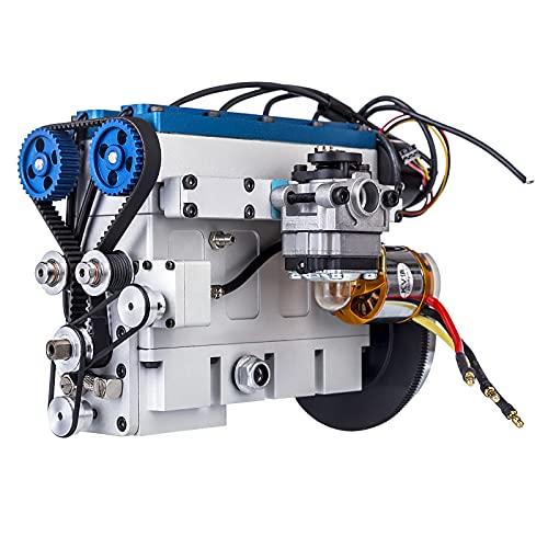 GXZZ ENJOMOR Benzin Motor Bausatz, 36cc DOHC Inline 4 Zylinder 4-Takt Wassergekühlter Benzinmotor Motor Modell 1:8 RC Auto Boot Panzer